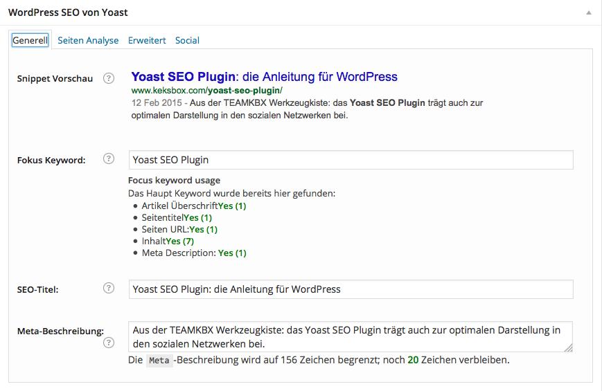 Das Yoast SEO Plugin für die Darstellung in Suchmaschinen.