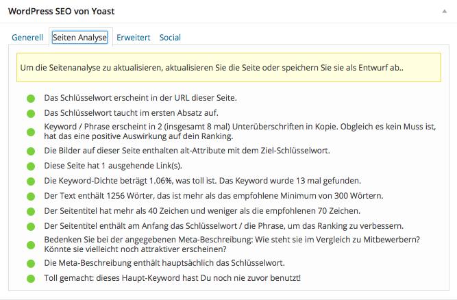Yoast SEO Plugin: Beispielansicht der Seitenanalyse.